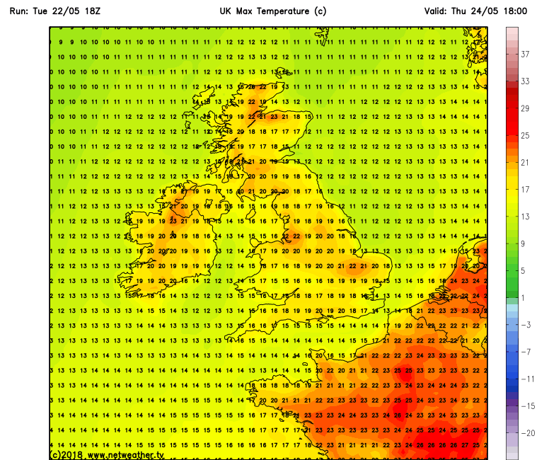 Temperatures over Ireland Friday
