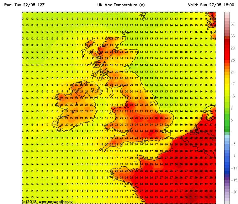 Temperatures over Ireland Saturday