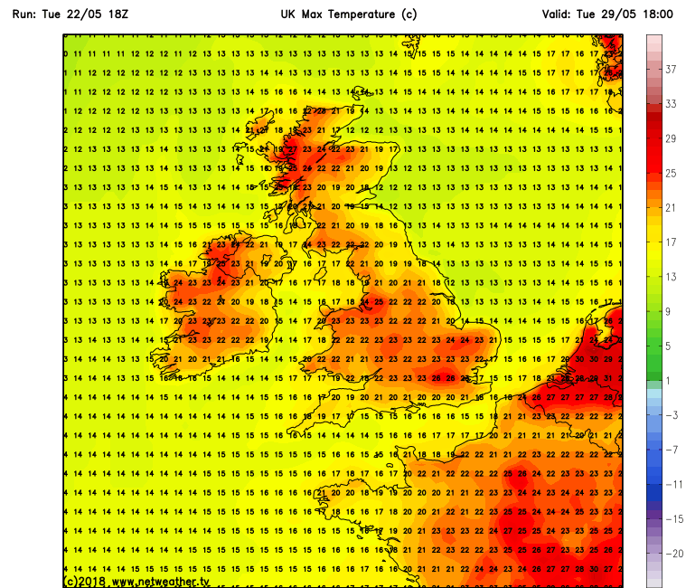Temperatures over Ireland Tuesday