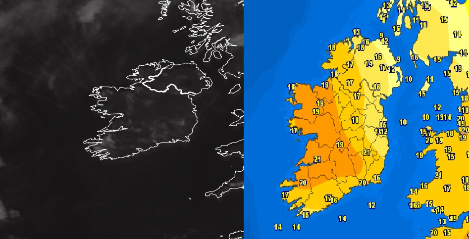Cloud Free and temperatures into the low 20s across Ireland