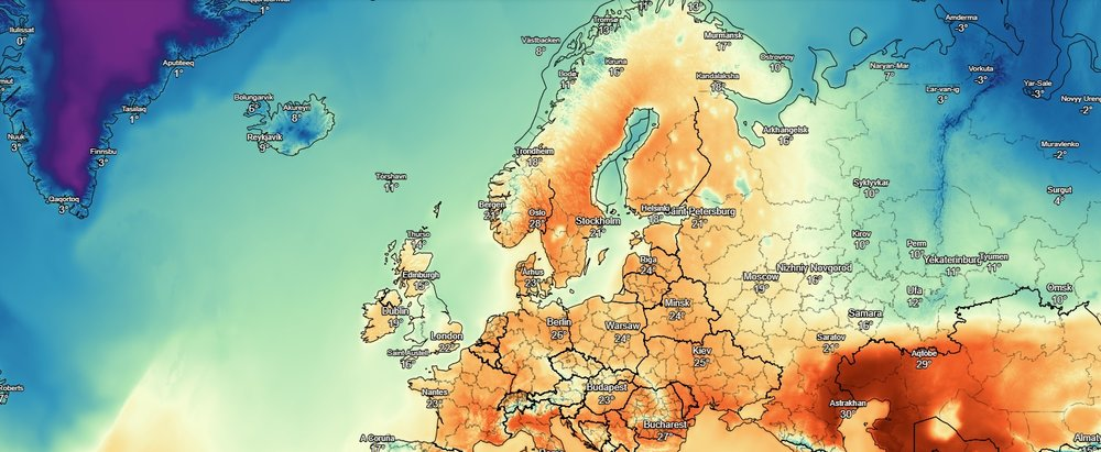 Unusually high temperatures over Scandinavia with temperatures set to rise into the high teens in parts today
