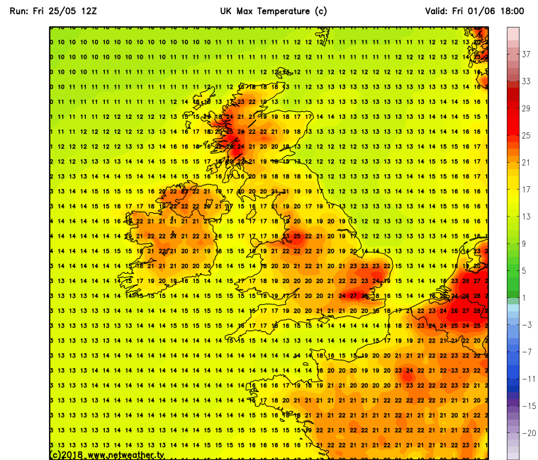 Latest GFS model run for next Friday the 1st of June showing warm temperatures across Ireland taken from the GFS model run from netweather