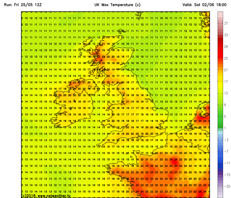 Latest GFS model run for next Satuday the 2nd of June showing warm temperatures across Ireland taken from the GFS model run from netweather