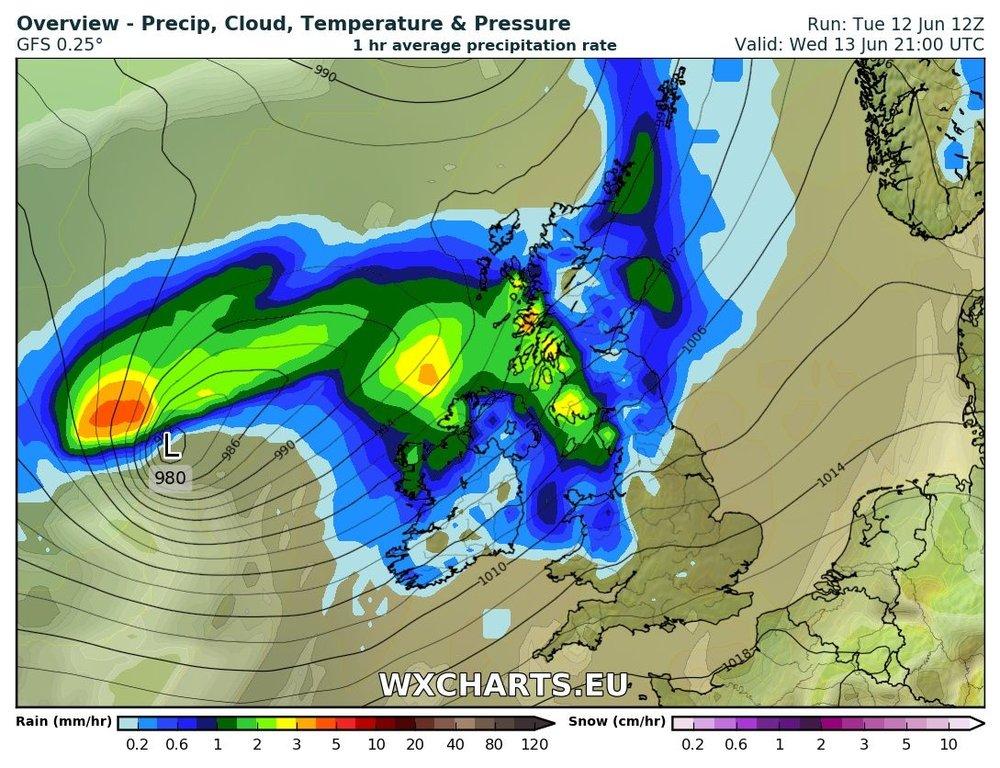 Rainfall over Ireland Wednesday evening and night