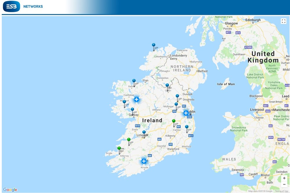 Latest power cut around Ireland