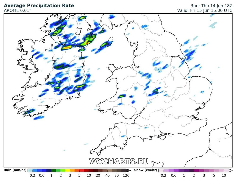 precipitation chart for 3pm Friday afternoon showing the risk of showers. These will the clear later in the afternoon