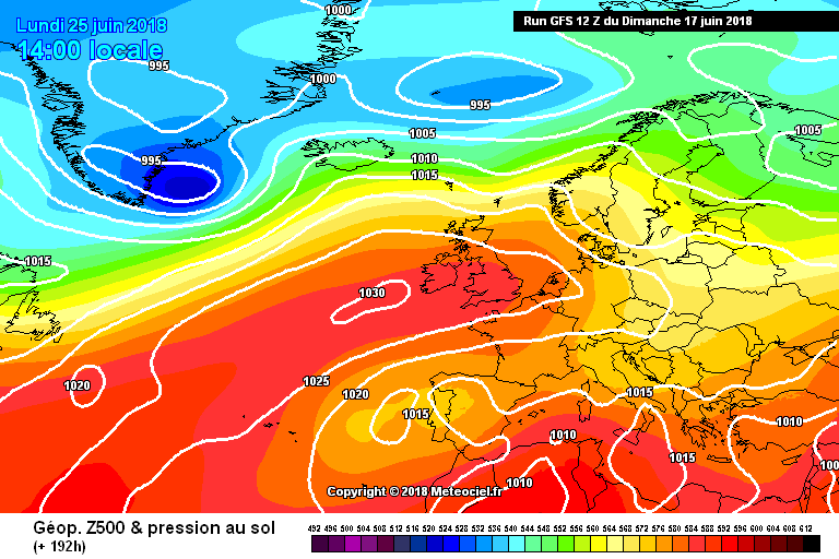 GFS model showing high pressure building over Ireland
