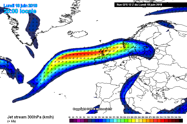 Strong jet stream over Ireland at the moment which is bringing cooler conditions and unsettled weather