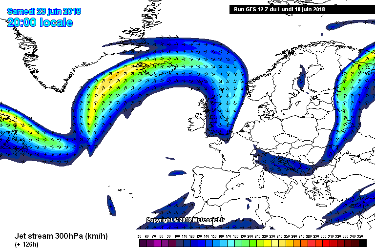 Jet stream move northward on Friday with high pressure beginning to build over Ireland a Azores High