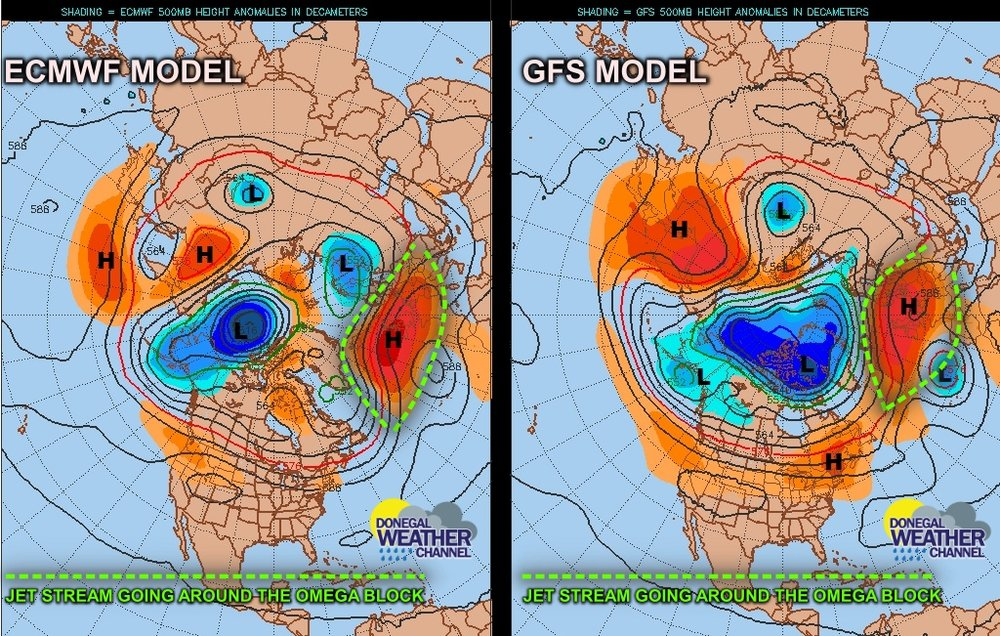 ECMWF and GFS 10 day 500mbr 12z height Anomaly Charts