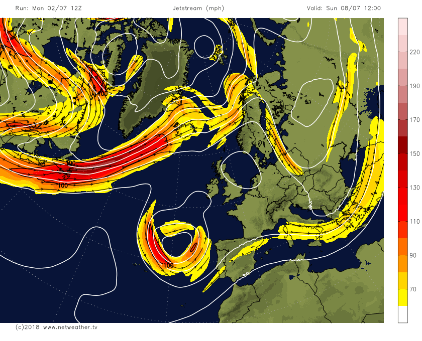 Jet stream forecast from Netweather GFS model