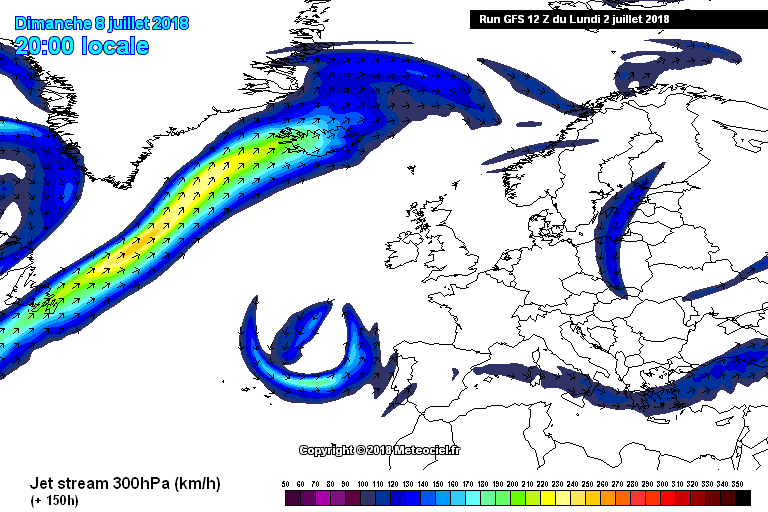 Jet stream forecast from Meteociel GFS model