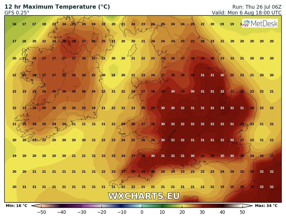 Temperatures look as the could rise again at the end of Next week and over the Bank Holiday weekend