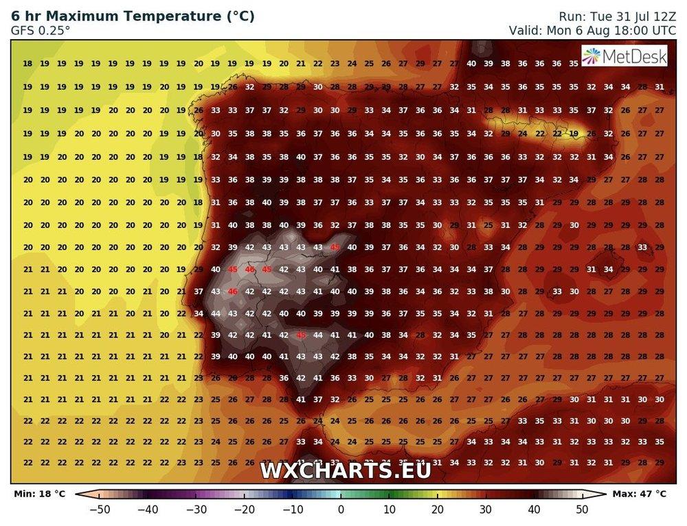 Maximum temperatures for Monday across Iberia