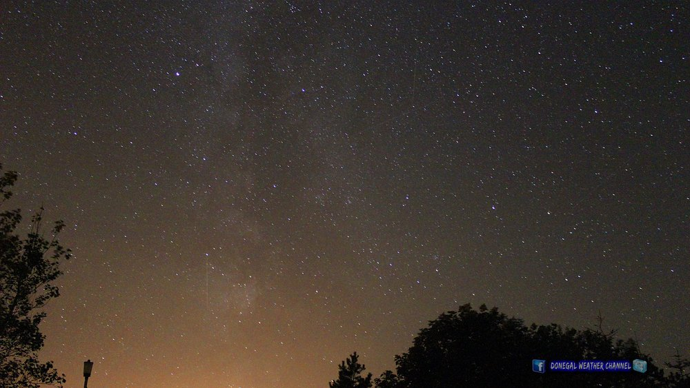 Perseid meteor shower and the milkyway  Photo Donegal Weather Channel.   Location Donegal Ireland