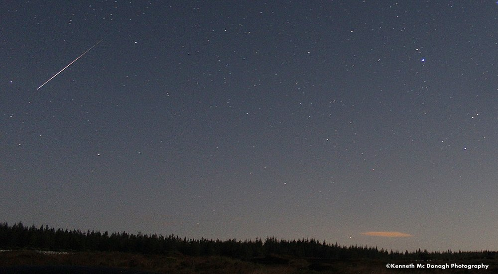 Perseid meteor with a strong moon Photo Donegal Weather Channel.   Location Donegal Ireland