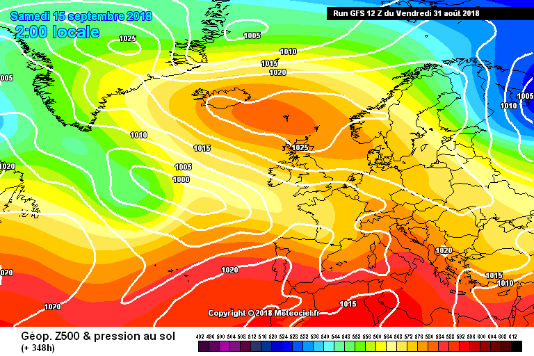 GFS model shown the blocking high in place at day 15 the 15th of September