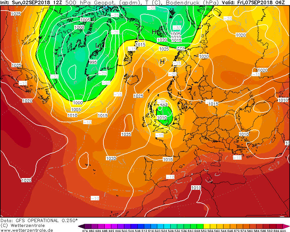 Low pressure centered over the UK which will feed rain and showers into Ireland on Friday and Saturday.
