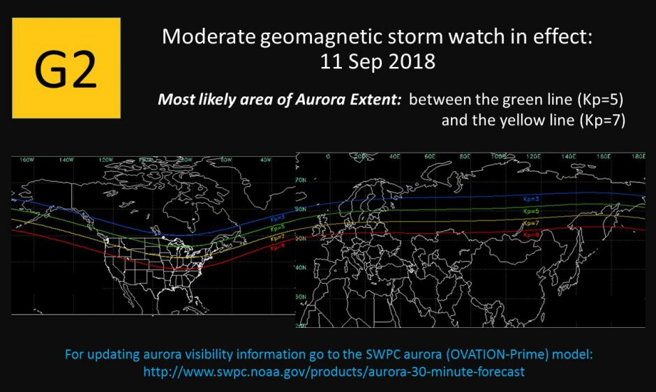A G2 (Moderate) geomagnetic storm watch has been issued for 11 Sep 2018 due to the anticipated onset of coronal hole high speed stream.