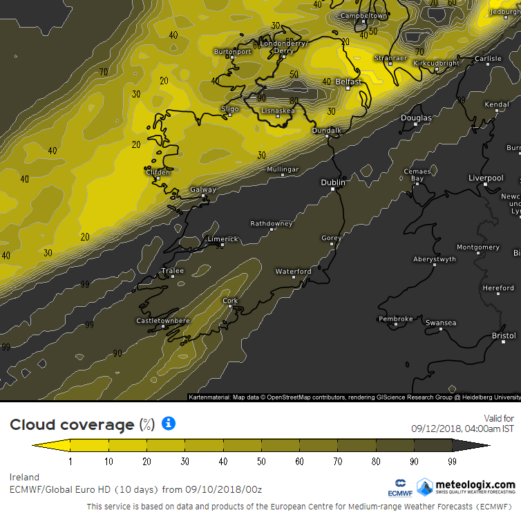 Cloud forecast from the ECMWF model Wednesday morning at 1am