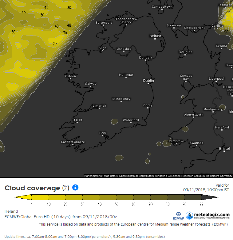 Cloud forecast from the ECMWF model Tuesday night at 10pm