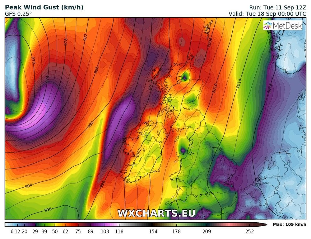 Current outlook for early next week is for windy weather but no storm. At this stage it would warrant a yellow weather warning but its to early to say yet as there will be further changes over the coming days with such a active Atlantic at the moment