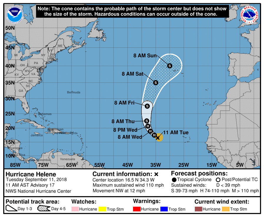 Current track of HURRICANE HELENE over the rest of this week and weekend