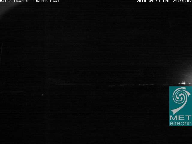 Current Met Eireann webcam looking north at Malin Head show some clear gaps on the horizon