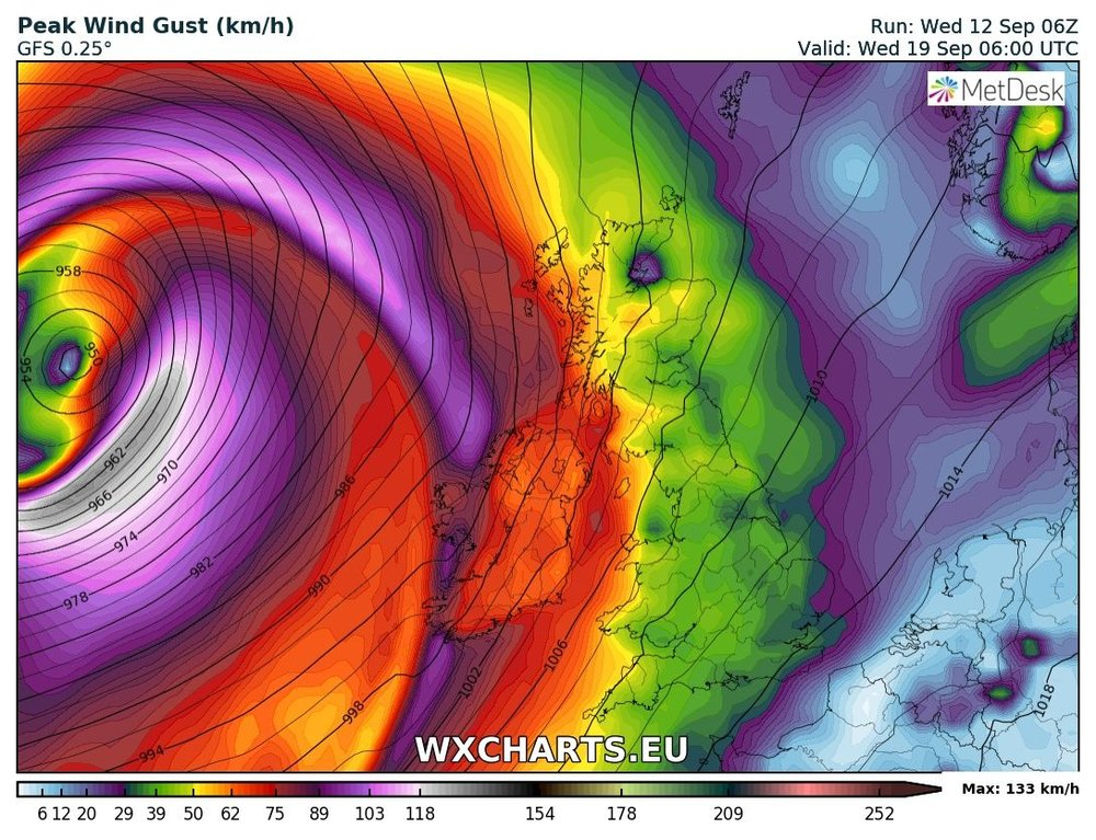 Another area of low pressure of the west coast if Ireland Tuesday night into Wednesday which could bring windy weather.