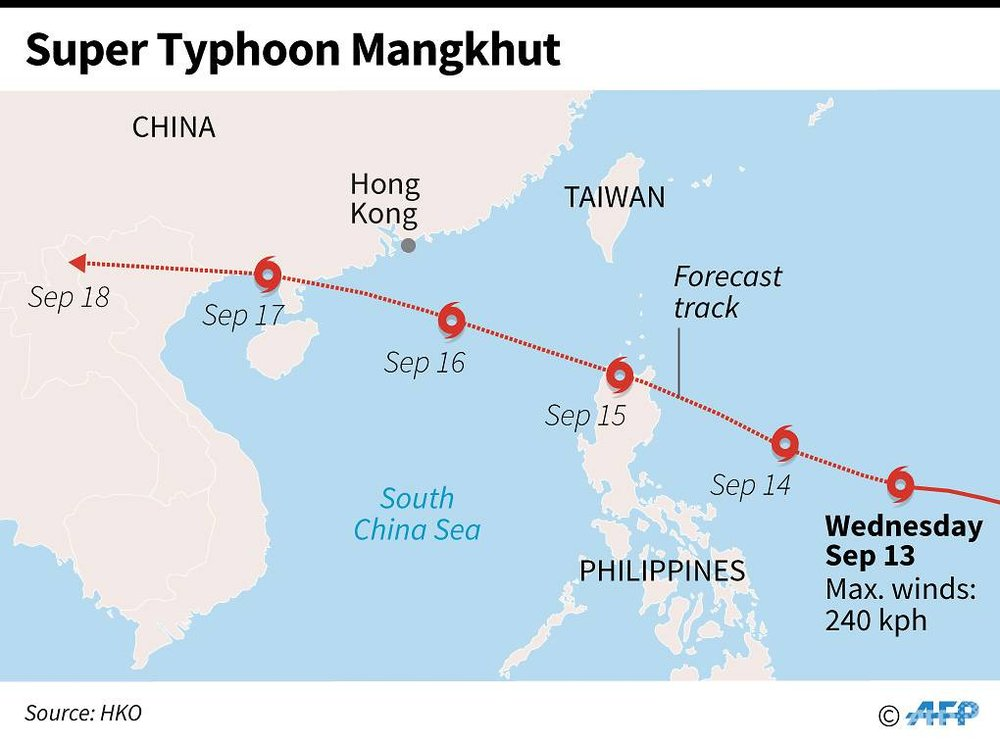 Forecast path of Super Typhoon Mangkhut as it approaches Hong Kong. (Graphic: AFP/Gal Roma)