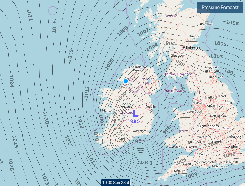 The latest pressure Chart from the    Met Eireann    Harmonie model