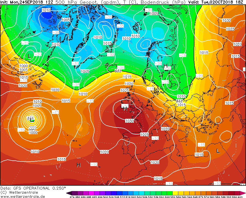High pressure in place over Ireland into the first few days of October, GFS MODEL RUN