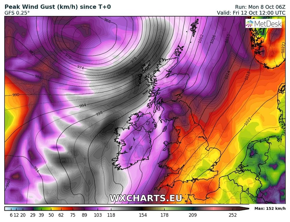 Latest GFS model run shown severe and damaging gust on Friday morning with a red warning possible
