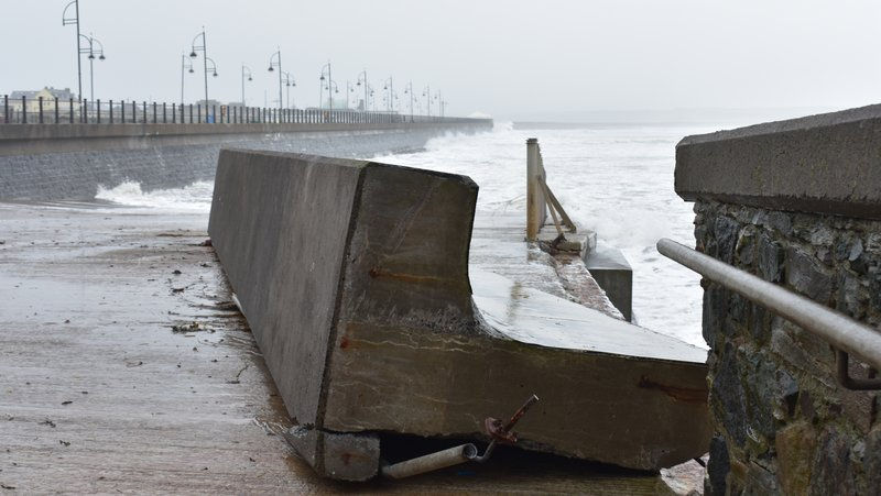 A section of the promenade wall at Tramore, Co Waterford gave way during the storm (Pic: Tina Schley)