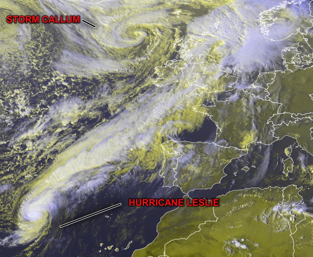 The latest Satellite image showing Hurricane Leslie southwest of Portugal and storm callum northwest of Ireland