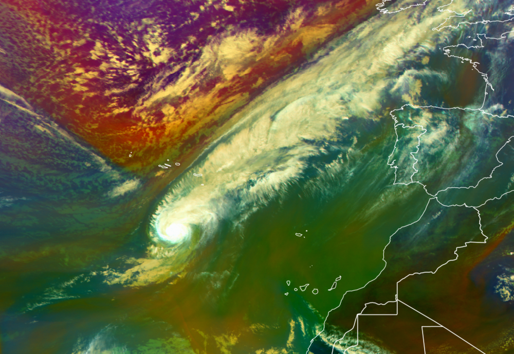 The latest Satellite image showing Hurricane Leslie southwest of Portugal