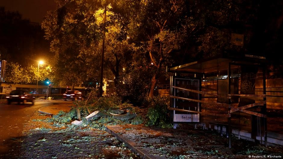 Damage caused by Hurricane Leslie over night in Portugal