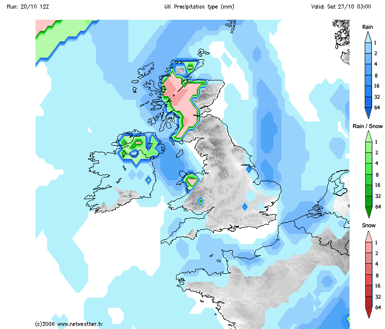 Risk of wintry showers next weekend currently showing on the latest GFS model