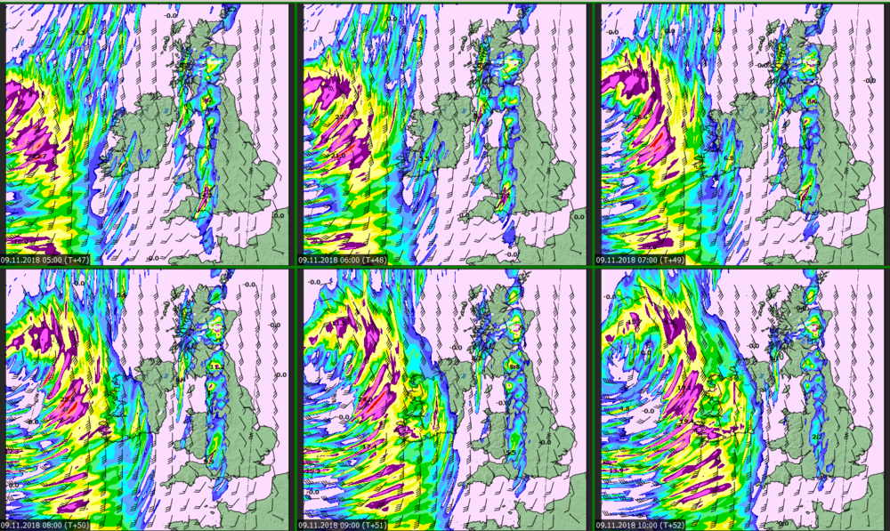 54-hour high resolution HARMONIE model from  Met Eireann  showing the risk of strong winds on Friday