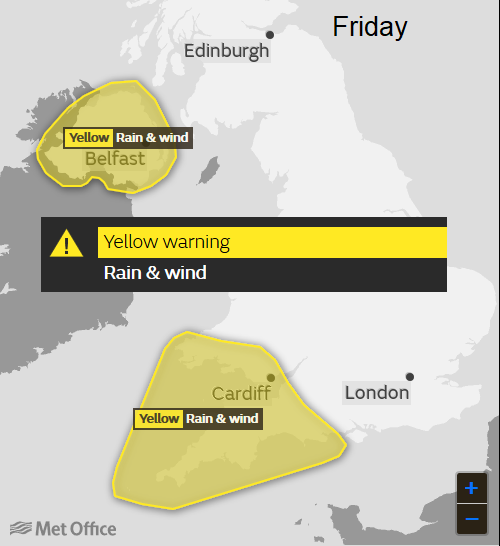 Met office UK warning currently in place for Friday for Northern Ireland, Southwest England and southern Wales.