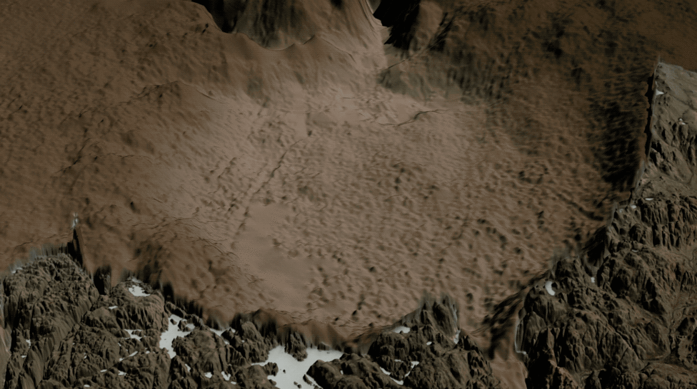 Two views of the Hiawatha crater region: one covered by the Greenland Ice Sheet, the other showing the topography of the rock beneath the ice sheet, including the crater.     Credits: NASA/Cindy Starr