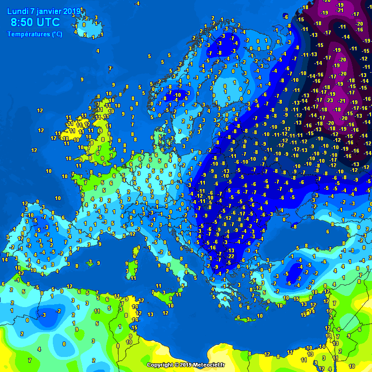 Temperatures across Europe this morning