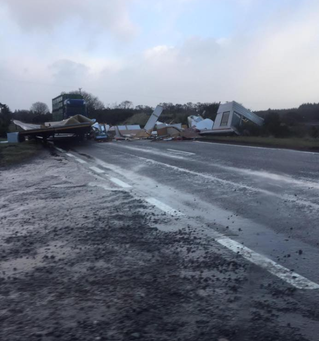 Damage caused by 70 mph winds - a caravan lifted from a field near Dornoch and blown across the A9, thankfully nobody was inside.    Photo credit Lauren East / A9 Roadwatch.