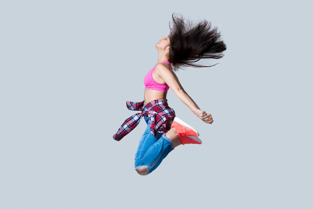Hip-hop dancer jumping