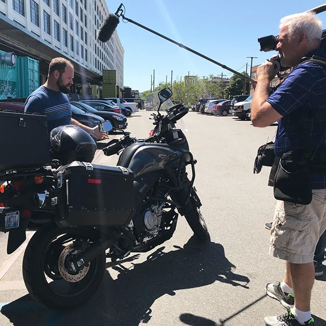 filming for a @megyntoday segment airing on 26 July with @suzukicycles and @handmadeprosthetics