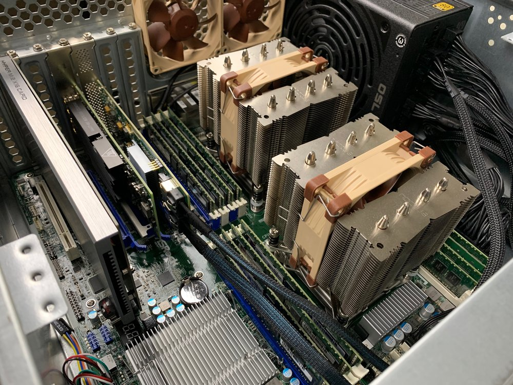 lsi card in the top PCI-E lane with two break out cables