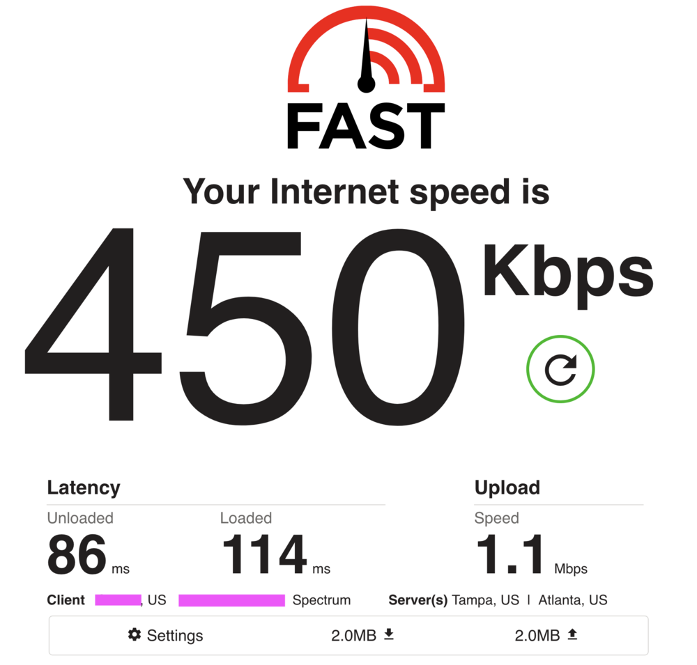 These are my upload and download speed when connected to my vpn while inside a two story building.