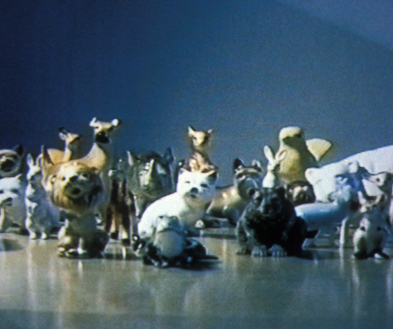 porcelain animals as actors in a video