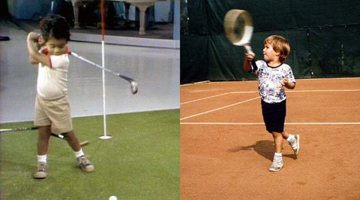 Tiger Woods (left) and Roger Federer (right) playing their respective sports as young children. Woods exclusively trained his golf skills while Federer took up other sports such as soccer. (via. Sports Illustrated)