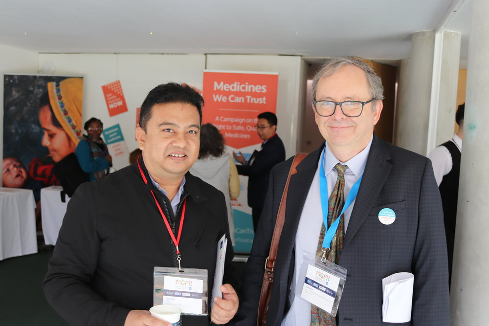 Eurek Ranjit (Kathmandu Medical College) and Paul Newton (MORU, IDDO) at MQPH